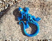 Cast Iron Gecko / Lizard / Home Decor / Garden Decor / Blue / Yellow / Green