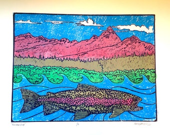 Mountain Bow Rainbow Trout fly fishing artwork of Jonathan Marquardt