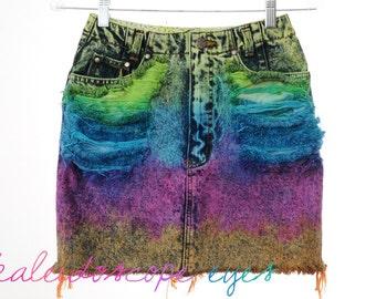 Vintage High Waist RAINBOW OMBRE Dip Dyed Denim Cut Off Mini Skirt XS