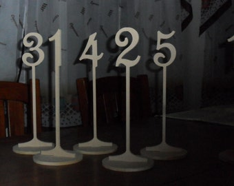 """Table Numbers 10 1/4"""" Tall 3"""" numbers on stem NO base 1-17"""