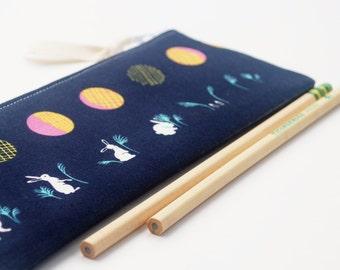 Pencil Case, Zipper Bag, Cosmetic Bag, Rabbits and Moon in Indigo