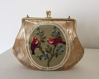 Embroidered Cardinal Acrylic Purse.