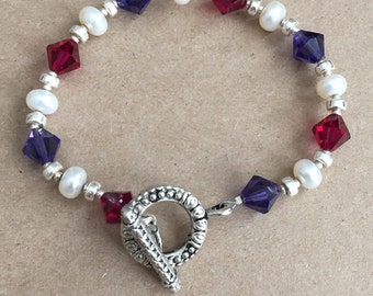 Pink and Purple Swarovski Crystal with Silver and Freshwater Pearls Bracelet
