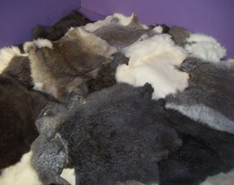 Lot of tin (25) Real animal rabbit bunny hide fur tanned rug leather craft home decor part piece