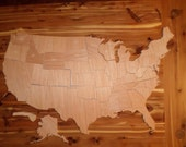Handcrafted Wooden United States of America Puzzle or Mural (834)