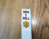 D20 roleplayer yellow crit  dice cross stitch bookmark