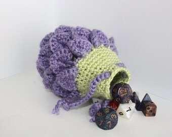 Scale dice bag happy eggplant , Crocodile stitch