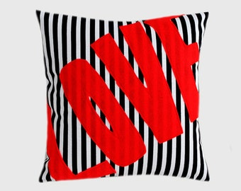 """Decorative Pillow Case, Thick Cotton Black-White Throw pillow case with Red word """"Love"""" accent, 16""""x16"""",  Cushion case, Toss pillow case"""