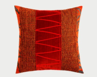 """Decorative pillow case, Orange, Grey, Red colors, Embellished Throw pillow case, fits 16"""" x16"""" insert, Cushion case, Toss case"""