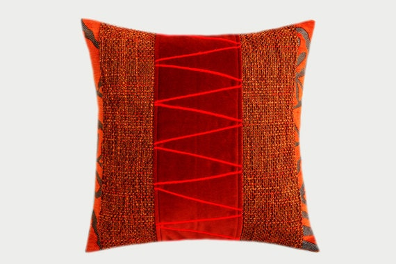 decorative pillow case orange grey red colors embellished. Black Bedroom Furniture Sets. Home Design Ideas