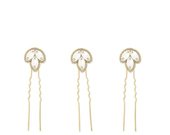 Gold deco wedding hair pins (x3), Gold crystal wedding hair pins, Gold twenties hair pins, Gold 1920s hair pins