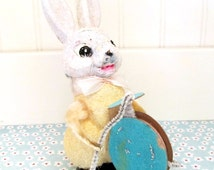 Vintage 1950s Papier Mache Mica Easter Bunny with Drum, Made in Japan Kitsch, Chenille Stem Cardboard Easter Bunny Decoration