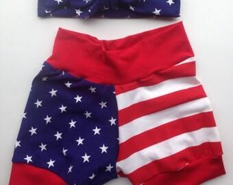 Fourth of july cuff shorts- unisex harem shorts- americana - infant through size six