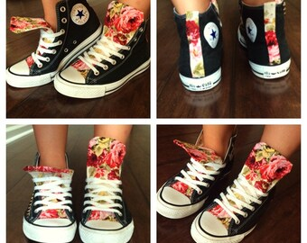 Custom made floral high top converse! made to order!