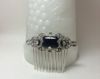 BLACK hair Comb bridal comb rhinestone comb Sterling Silver OX hair comb hair accessories Filigree Flower vintage style Black Wedding comb
