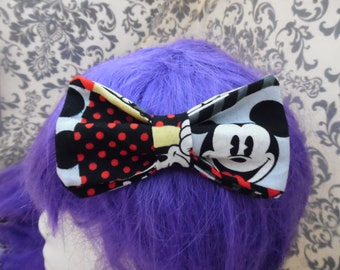 Mickey Squares Double Layer Hair Bow/Bowtie/Headband