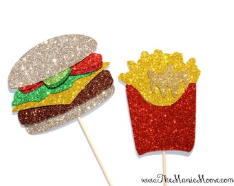 Photo Booth Props ~ Cheeseburger and Fries Photo Booth Props ~  Fun Foods Collection
