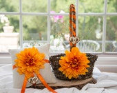 Orange Flower Ring Bearer Burlap Pillow & Rustic Flower Girl Basket over 10 different flowers and 35 ribbon to select from