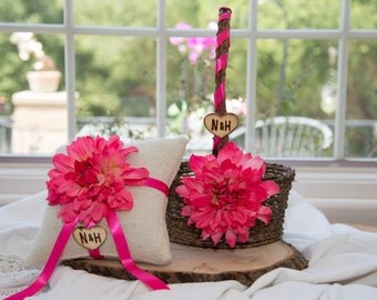 Ring bearer pillow with matching ribbon & rustic flower girl basket You personalize with choice of flower