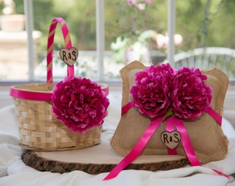Magenta Flower Ring Burlap Bearer Pillow and Flower Girl Basket over 60 different flowers and 35 ribbon to select from