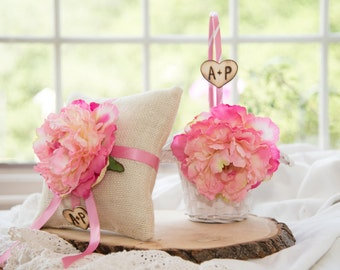 Pink Peonies Flower Ring Bearer Pillow & White Flower Girl Basket over 10 different flowers and 35 ribbon to select from