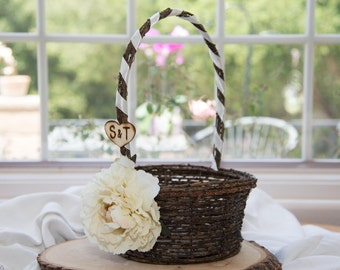Ivory Flower Rustic flower girl basket You personalize with choice of flower