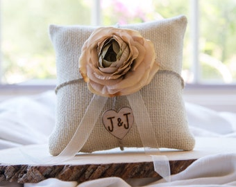 Champagne Ranunculus custom ivory burlap ring bearer pillow  shabby chic with engraved heart  initials... many more colors available