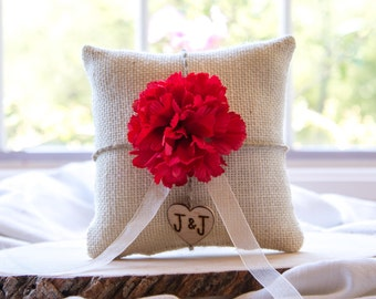 Red flower custom ivory burlap ring bearer pillow shabby chic with engraved heart  initials... many more colors available