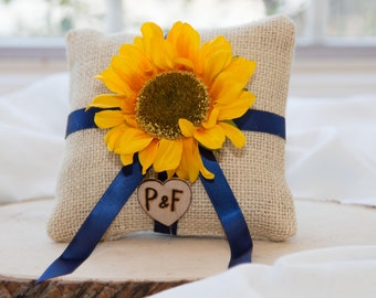 Sunflower Ivory Burlap Ring bearer pillow with Bride and Groom Initials over 60 flowers to select from!