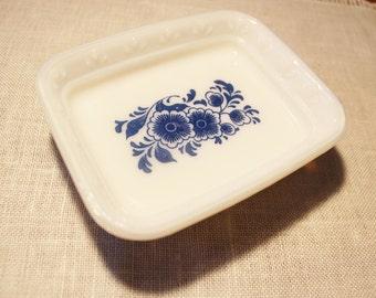 Vintage Blue Delft White Glass Avon Soap Dish Blue Blossoms