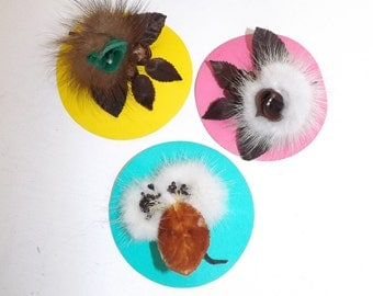 Vintage X3 real mink fur fabric flower brooch pin brown silver cream all boxed in original box