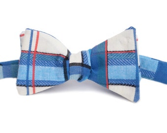 Blue, White & Red Bow Tie