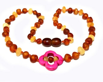 Raw NATURAL BALTIC AMBER Unique Teething Necklace with Flower Pendant for Baby or all Ages Girls