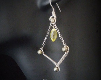 Gothic Victorian simple earrings - sterling silver,citrine, pyrite OOAK wedding bridesmaid gift sterling silver wirewrapped elegant