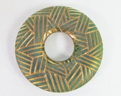 2 Vintage 38mm Matte Dark Emerald Green and Gold Carved Lucite Hoop Pendants Con271