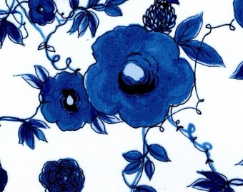 Indigo Blue on White Floral by P&B Textiles - Fabrics Cotton by the yard
