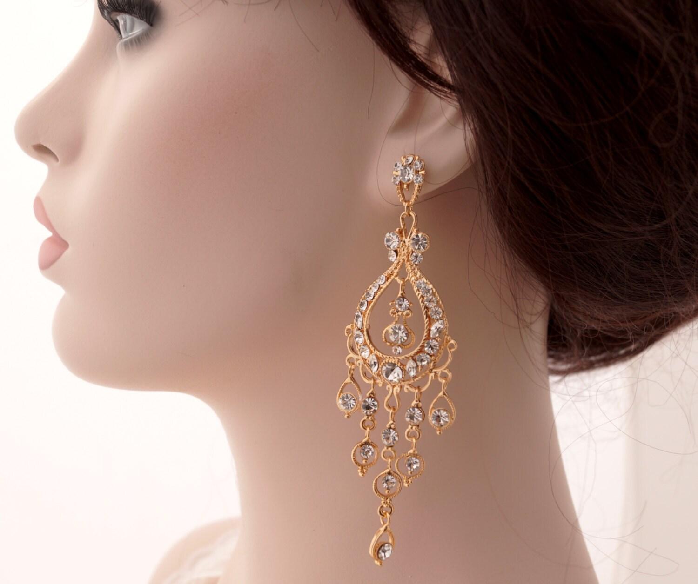 Rose gold chandelier earrings Rose gold bridal earrings Rose