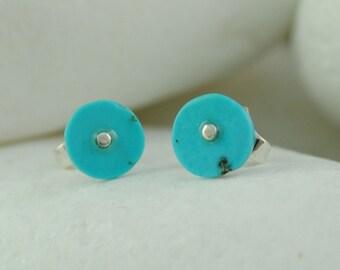 Sky Blue Turquoise Sterling Silver Stud Earrings
