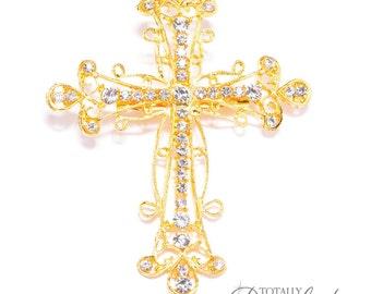 100 Pcs Wedding Sparkle Cross Brooch Embellishments, Wholesale Crosses Bling Wedding Supplies Invitations DIY Swarovski, Brooch 414-G