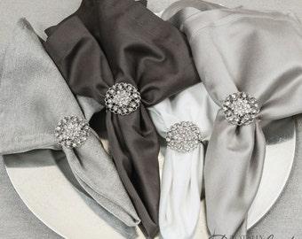 100pcs Wedding Napkin Rings, Rhinestone Napkin Rings Table Decor Wedding Bling, 405-S-N