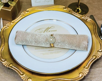 1pc Gold Napkin Ring Rhinestone Wedding Napkin Rings Wedding