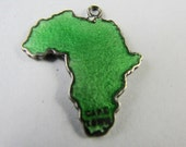 REDUCED Rare Africa Map TLM Thomas Mott Vintage Enamel English Sterling Silver Charm for Bracelet Cape Town