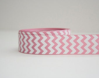 Baby Pink Chevron Print 7/8in Grosgrain Ribbon - 1yd