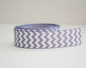 Icy Lavender Chevron Print 7/8in Grosgrain Ribbon - 1yd