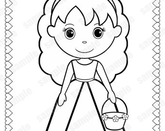 Awesome Flower Girl Coloring Book Gallery - Coloring 2018 ...