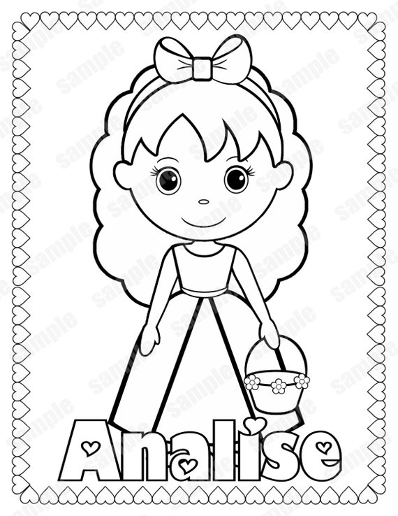 personalized birthday coloring pages | Personalized Printable Flowergirl Wedding Party by ...