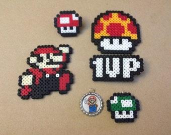 Super Mario Gift Set - Perler Sprites, Bottlecap charm, Pins