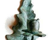 Vintage Patinated Bronze or Brass wall hanging candle holder scones estate find