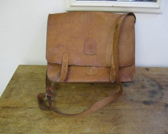 Fabulous Distressed Leather Messenger / Cross Body Bag. Leather  Book Bag