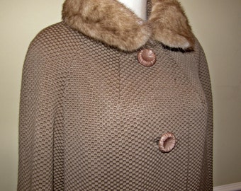 1940s - 1950s Ladies Coat Bettijean Furred Fashion Waffle Dotted Wool with Mink Collar Fabulous Buttons